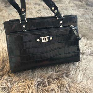 """Black leather crocodile purse 15"""" wide"""